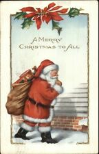 Christmas - Santa Claus Outside Home c1910 Postcard