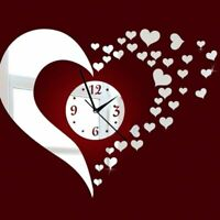 Mirror Wall Art Clock Decal DIY Watch Home Decoration Heart Designed Accessories
