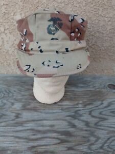 USMC Marine Gulf War Desert Storm 6 COLOR DESERT CAMO 8-Point Hat , Rare