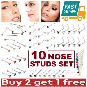 10 x NOSE STUDS SET I L SCREW SHAPE BALL END SILVER PIERCING SURGICAL STEEL PACK