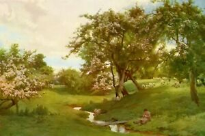 90y Old Vintage PARSONS WHEN NATURE PAINTED ALL THINGS GAY Sheep Landscape Print