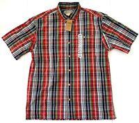 Duluth Trading Company Short Sleeve Button Red Plaid BBQ Shirt Mens Medium New