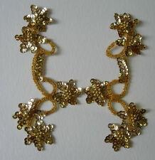 LR21 Mirror Pair Star Floral Sequin Bead Applique Gold Belly Dance/Dancewear