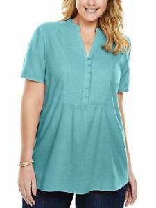 New LADIES WOMAN WITHIN UK Size 38 40 Curvy Light Blue Aqua Cotton Blouse Top