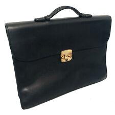 $2100 Vintage Bottega Veneta Men's Black Marco Polo Leather Briefcase