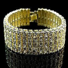 New Mens Womens 14k Yellow  Gold Finish 4 Row Lab Diamond Tennis Bracelet Canary
