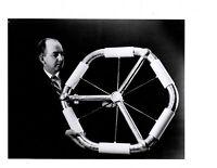 Vintage NASA Press Photo Scientist Examining Inflated Model Space Station V01