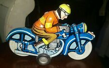 Ballon Cordatic Blue 1960's Vintage Toy Friction Litho Tin Motorcycle & Rider