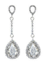CLIP ON DROP EARRINGS - silver with cubic zirconia stone - Elisa by Bello London
