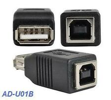 USB 2.0 A Female to B Female Black Adapter, AD-U01B