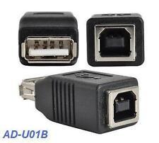 USB 2.0 A Female to B Female Black Adapter, AD-U01B