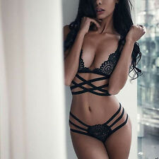1 Set Sexy Womens Lingerie Underwear Three point cross straps hollowed out Black