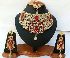 Bollywood Kurdisch Braut Gold Rot Hochzeit Schmuck Indien Bauchtanz Neu Tikka