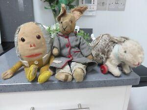 Three Vintage Merrythought  Soft Toys Rabbit, Rabbit on wheels Humpty Dumpty