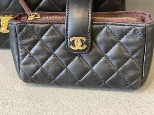 Chanel Pouch Purse Black Lambskin CC Authentic