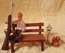Antique Miniature Handmade Wood Bench with Man & Rifle