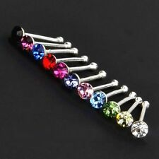 Nose Stud Genuine Solid 925 Sterling Silver 0.5mm Thin Bar Crystal 1.5mm to 3mm