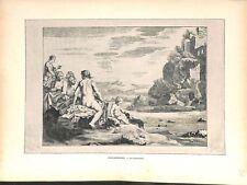 Les baigneuses par Cornelis van Poelenburgh peintre des Pays-Bas GRAVURE 1886