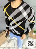 New Mens Long Sleeve Slim Fitted Black Pullover Sweater Yellow White Plaid