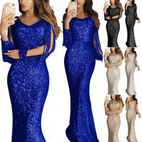 Womens Cocktail Party Long Sleeve Sequins V-neck Elegant Dress Ball Prom Gown