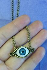SCARY EVIL BLUE EYEBall QUIRKY  KITSCH EMO STEAMPUNK spooky  NECKLACE Halloween