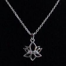 LOTUS Flower Pendant YOGA Om Mantra Jewelry Necklace Symbol W/ Crystals Namaste
