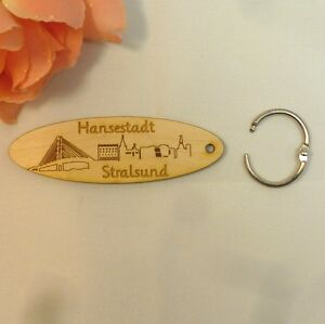 Schlüsselanhänger Hansestadt Stralsund Holz Geschenk Mitbringsel Erinnerung
