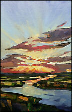 W HAWKINS Tonalist Glowing Clouds River Landscape Impressionism Oil Painting Art
