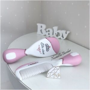 Pink Personalized Brush set with Swarovski crystals. Baby Gift Hair Brush