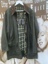 Men's Vintage Barbour Border Wax Jacket Green Hunting Medium XL Chest 44 112CMS