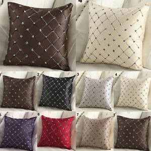 Square Lattice Throw Pillow Case Waist Cushion Covers Home Sofa Bed Decoration&