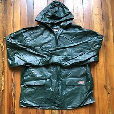 MEN'S COLEMAN PVC Rain Hoodie Jacket Green Thick Durable Size XL Zipper Snap