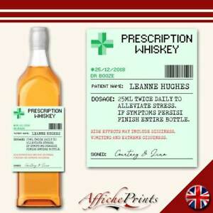 Personalised Whiskey Whisky Label Prescription Medicine Present Custom Sticker