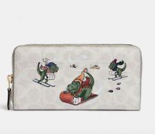 💙 Coach Signature Canvas Rexy Ski Print Accordion Zip Wallet Winter Scene NWT