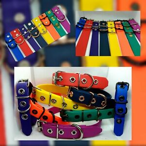 Biothane Dog Collars.2 widths, 10 colours, 4 hardware choices + engraving option