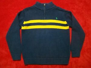 POLO RALPH LAUREN Boys Size 7 Blue Yellow Stripes 1/4 Zip Sweater Pullover