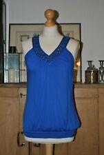 LADIES DESIGNER TED BACKER COBALT BLUE EMBELLISHED TOP SIZE 1