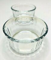 Set of 2 Vintage Arcuisine France Clear Glass Dessert Custard Bowls Ribbed Cups