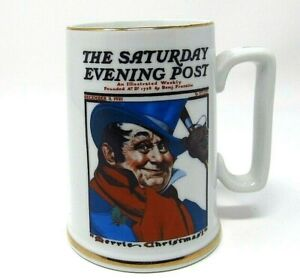 mug cup saturday evening post merrie coachman norman rockwell Christmas 1986