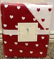 Pottery Barn Kids Heart Flannel TWIN duvet 1 std SHAM Valentines reversible RED