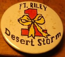 "Appr 2"" diameter DESERT STORM Yellow Ribbon Ft. Riley KS Big Red One Button"