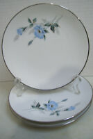 """3 Noritake China Sylvia 6 1/4"""" Bread & Butter Plates Made In Japan Blue Flowers"""