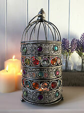 Small Bejeweled Lantern Holder Candle Silver Birdcage Antique French Moroccan