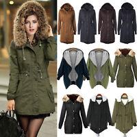 Women Winter Warm Hooded Overcoat Trench Coat Jacket Outerwear Long Hoodie Parka