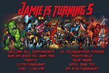Printable Invite Personalised SUPERHERO Spiderman Hulk Invitation JPEG You Print