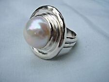 Silpada Pure Romance Ring R3366 925 Sterling Silver Large Pearl Size 6