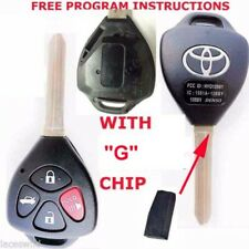 "TOYOTA LOGO OEM 4 BUTTON CAR REMOTE NEW UNCUT KEY ""G"" ON BLADE CHIP FOB HYQ12BBY"