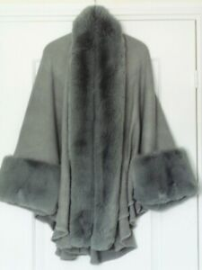 NEW FRANK USHER Faux Fur Trimmed Cape - Grey - One Size