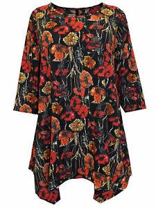 T-Shirt Bluse Shirt Longshirt Top Longtop Blumen bunt-gemustert Gr. 46 Neu