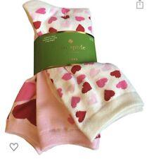 K.Bell Hot Pink Hearts and Arrows On Black Socks Black Crew Socks New